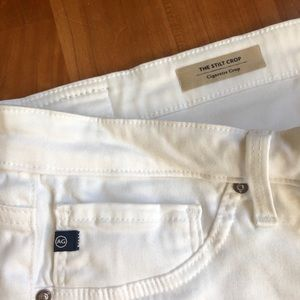 White AG cigarette crop pants